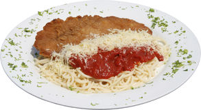 Cotoletta fritta di braciola di maiale con pasta e salsa al pomodoro italiane Fotografia Stock Libera da Diritti
