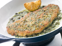 Cotoletta of Veal in a Frying Pan Stock Photo