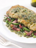 Cotoletta of Veal with Green Beans and Pancetta Stock Images