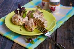 Cotolette del pollo con le verdure e la crusca Fotografia Stock