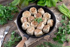 Cotolette di recente cucinate casalinghe in una padella della ghisa Vista superiore Priorità bassa dell'alimento Fotografia Stock