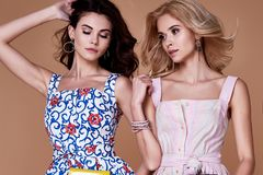 Coton élégant d'habillement de tendance de conception d'usage de modèle de femme de deux beautés Photos libres de droits