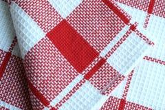 Coton de tissu checkered pour des essuie-main Images libres de droits