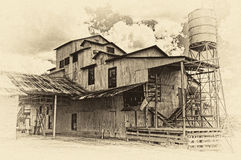 Cotone abbandonato Gin Burton, il Texas Fotografie Stock Libere da Diritti