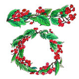 Cotoneaster red berries in garland border and wreath Royalty Free Stock Photo