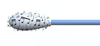 Cotonetes de algodão e notas musicais Fotos de Stock Royalty Free