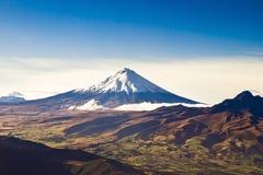 Cotopaxi火山,厄瓜多尔天线射击 免版税库存图片