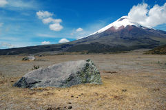Cotopaxi volcano in an Andean landscape. A volcanic rock in an Andean valley with the majestic Cotopaxi (highest active volcano in the world) in the background Stock Image