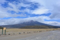 Cotopaxi volcano near to Quito, Ecuador. View of the Cotopaxi volcano in Ecuador, during a sunny day stock photo