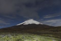 Cotopaxi volcano at night stock photos