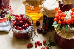 Cotos y fresas crudas, cerezas, bayas de la fruta de serbales en una tabla de cocina Fotografía de archivo