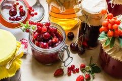 Cotos y fresas crudas, cerezas, bayas de la fruta de serbales en una tabla de cocina Imagen de archivo libre de regalías