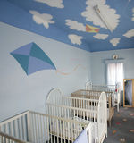 Cots for babies. Cots in a creche stock photography