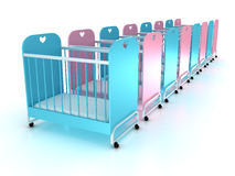 Cots on wheels with a mattress. 3D Stock Photos
