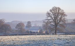 Cotswold风景在冬天 免版税库存照片