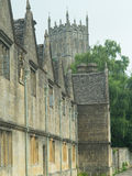 Cotswold buildings and the church Royalty Free Stock Image