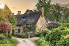 Cotswold cottage at sunset Royalty Free Stock Photo
