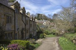 Cotswold cottages at Blockley, Gloucestershire Royalty Free Stock Photos