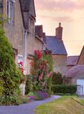 Cotswold cottages at sunset Royalty Free Stock Photography