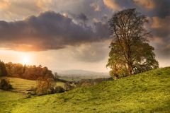 Cotswold landscape at sunset Stock Images