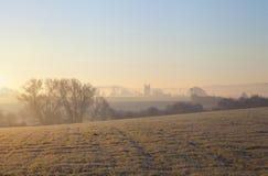 Cotswold-Landschaft im Winter Stockbilder