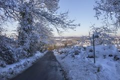 Cotswold lane in snow Royalty Free Stock Photo