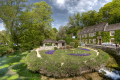 Cotswold village of Bibury and Arlington Row the p Royalty Free Stock Photo