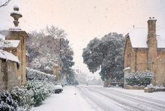 Cotswold village in snow Stock Photo