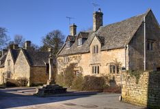 Cotswold village of Stanton. Village Cross at Stanton, Gloucestershire, England Royalty Free Stock Photography