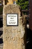 Cotswold Way marker in Chipping Campden, England. The Cotswold Way is a National Trail, a public footpath in England, that goes through the Cotswolds region from Royalty Free Stock Photo