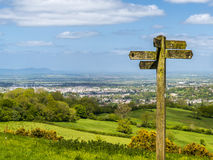 Cotswold way panorama across green fields stock images