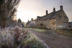 Cotswold wioska w zimie Zdjęcia Royalty Free
