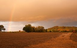 Cotswolds countryside with dramatic sunset Royalty Free Stock Images