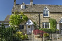 Cotswolds Hills - village made with Cotswold stone-UK. Image was taken on 2018 August, in the magic place for me -Cotswolds Hills region of England. Beatiful old royalty free stock image