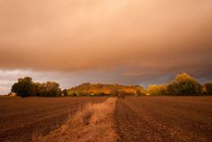 Cotswolds-Landschaft mit schwermütigem Himmel Stockbilder
