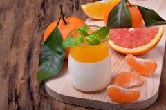 Cotta crémeux de panna et gelée orange d'agrume photographie stock