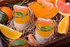Cotta crémeux de panna et gelée orange d'agrume image libre de droits
