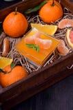 Cotta crémeux de panna et gelée orange d'agrume photographie stock libre de droits