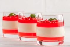 Cotta crémeux de panna de vanille avec la gelée rouge en beaux verres, grenade mûre fraîche sur le fond en bois blanc photographie stock