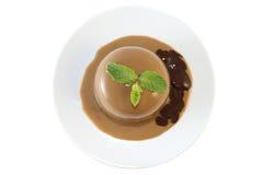 Cotta de Panna de chocolat avec la menthe Image stock