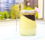 Cotta del panna de la vainilla con la salsa de chocolate, postre italiano foto de archivo libre de regalías