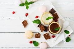 Cotta do panna do chocolate e da baunilha fotos de stock royalty free