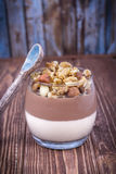Cotta hecho en casa del panna de la vainilla y del chocolate del postre con las nueces y el caramelo en un fondo de madera marrón Foto de archivo libre de regalías