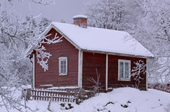 Cottage 02. Old snowy cottage in Smaland (Sweden Royalty Free Stock Images