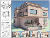 Cottage. 3D isometric view of abstract residential house Stock Photo