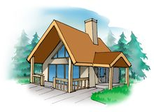 Cottage. A small vacation home in the country Stock Photography