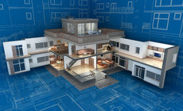 Cottage. The project of residential house. 3D image Stock Images