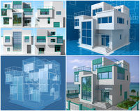 Cottage. The project of residential house. 3D image Royalty Free Stock Photos