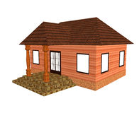 Cottage. House with porch on white background Royalty Free Stock Image