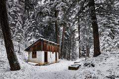 Cottage abandonné dans la forêt et la neige Photographie stock libre de droits